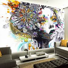 <b>Custom Mural</b> Wallpaper Color <b>Hand Painted</b> Abstract Graffiti ...