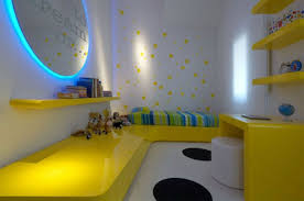 exquisite kid bedroom decorating design with yellow bedframe and desk and yellow hanging shelf and circular bedroom kids bedroom cool bedroom designs