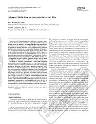 research paper internet addiction or excessive internet use