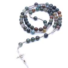 Christ Natural Stone Indian Agate <b>Beads</b> Cross Necklace | Shopee ...