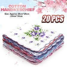 <b>20Pcs Lot</b> Ladies Women Vintage Cotton Quadrate Hankies Floral ...