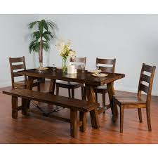 extension table f: sunny designs tuscany distressed mahogany  piece extension table w turnbuckle set with bench