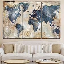 <b>3Pcs</b>/Set World Map Wall Art Paintings <b>No Frame</b> Home Decoration ...