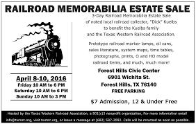 railroad memorabilia hosted by texas western mrc railroad memorabilia estate ntx nrhs flyer