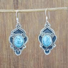 925 Silver <b>Gemstone</b> Earrings - 925 Sterling Silver Turquoise ...