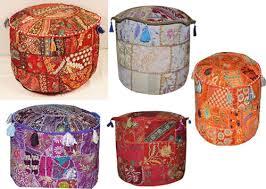 Vintage <b>Patchwork</b> Indian <b>Pouf</b> Embroidered <b>Pouffe Round</b> Cover ...