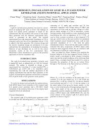 (PDF) THE REDESIGN, <b>INSTALLATION OF</b> LIGHT II-A PULSED ...