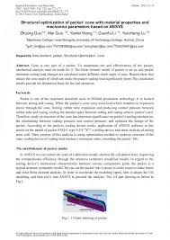 Structural Optimization of <b>Packer</b>' Cone with Material Properties and ...
