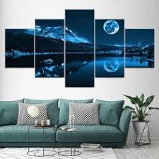 5 Pieces Abstract Blue Moon Night Scene <b>Wall Art Modular</b> Pictures ...