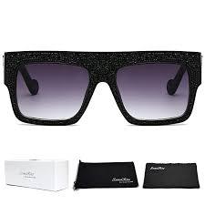 SamuRita Flat Top Square Rhinestone Sunglasses ... - Amazon.com