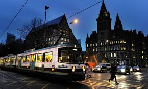 Manchester city centre showing the trams