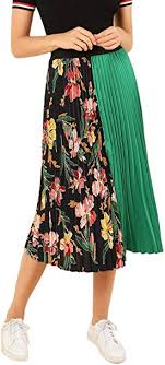 SheIn <b>Women's Summer</b> Color Block Floral <b>Midi</b> A-Line Pleated Skirt ...