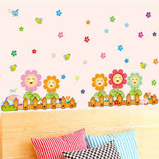 colorful smile face flower fence home decor wall sticker for kids ...