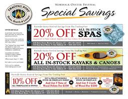 print marketing by gloria owens at com trading post promotional coupon flyer promotional flyer highlighting the trading post s three areas of business spas paddle sports and hearth products