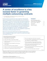 a center of excellence is a key success factor in governing a center of excellence is a key success factor in governing multiple outsourcing contracts