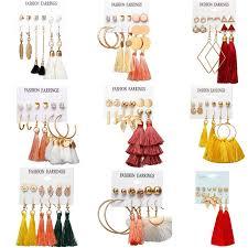 <b>HOCOLE Fashion</b> Bohemian Long Tassel Earring Set Silk Fabric ...