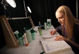Photos of the Week            Model Maja Salamon works on her geometry homework