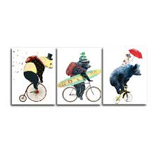 <b>Laeacco 3 Panel</b> Canvas Calligraphy Painting Cartoon Animal Bike ...