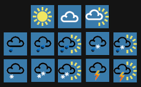 various symbols representing the weather