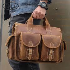 <b>J.M.D</b> Crazy Horse <b>Leather</b> Men's Handbag Vintage <b>Genuine</b> ...