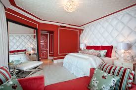 endearing red bedroom ideas with red vinyl headboard and red couch and wide mirrored frames as bedroomendearing styling white office