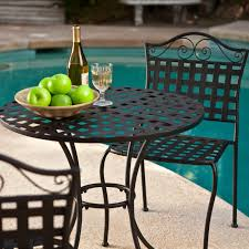 mesh wrought iron metal table piece bistro set outdoor patio garden furniture chair black wrought iron outdoor furniture