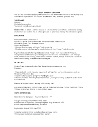 sample resume for fresh graduate out work experience sample resume for fresh graduate out work experience