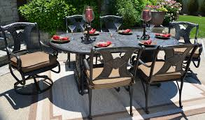patio table and 6 chairs: amalia  person luxury cast aluminum patio furniture dining set with swivel chairs