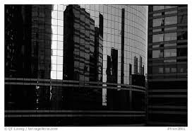 reflections in modern office buildings la defense france black and white office