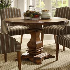 modern dining table teak classics: modern dining room furnishings set using teak wood rustic round dining table with single base legs and upholstered dining chairs