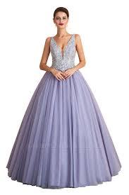 Cerelia | Elegant Princess V-neck <b>Ball gown Lavender Prom</b> Dress ...