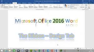 design tab the ribbon word 2016