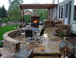 outdoor fireplace paver patio: photos  patio with fireplace design on flagstone stone and outdoor kitchen designs
