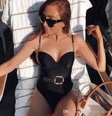 <b>2020 Retro 2020 Sexy</b> Ribbed One Piece Swimsuit Female Push Up ...