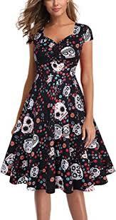 Women's <b>Vintage</b> Rockabilly Dress Retro <b>Floral Skull</b> Print ...