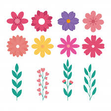 Free Vector | Set of <b>cute flowers</b> with branches and leafs naturals