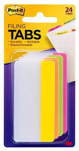 Post-it® Tabs, <b>3 inch</b> Solid, <b>Assorted</b> Bright Colors, 6/Color, 4 Colors ...