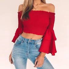 Sexy Cotton Blends Cropped Top <b>2020 Autumn Off</b> Shoulder Black ...