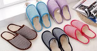 2017 New Men Women Indoor Floor Slippers stripe Warm Cotton ...