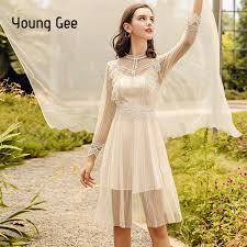 <b>Young Gee</b> Party Mesh Dress 2019 Spring Summer Lace Flower ...