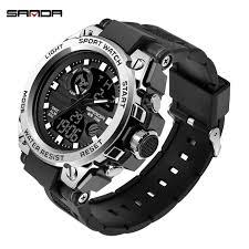 2019 Sanda <b>Men's Watches</b> Black Sports <b>Watch LED</b> Digital 3ATM ...