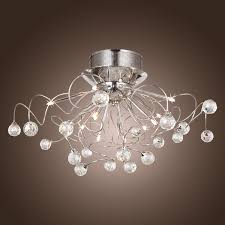 modern crystal chandelier with  lights chrom flush mount