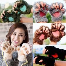 <b>Hot</b> Lovely Women Cat Claw Paw Mitten Plush <b>Glove</b> Costume <b>Cute</b> ...
