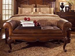 upholstered bench and carved brown wooden with brown leather upholstered seat and arms laid on brown upholstered bedroom brown leather bedroom furniture