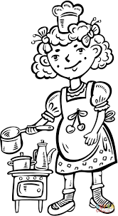 Small Picture Child Playing Chef in the Kitchen coloring page Free Printable