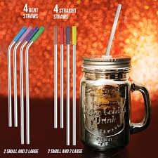 <b>8</b> Pack Reusable Stainless Steel Straws Ultra Long <b>10.5 Inch</b> Small ...