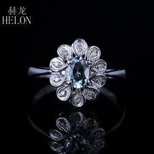 <b>HELON</b> Sparkled 4x6mm Oval Aquamarine Engagement Wedding ...