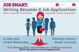alia sydney job smart writing resumes and job applications need help those tricky job applications alia sydney has got you covered join us for job smart writing resumes and job applications at waverley