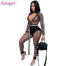 2019 <b>Adogirl</b> Fishnet <b>Side Stripe</b> Hooded Jumpsuit With Belt Zipper ...