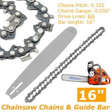 <b>2Pcs 16 inch</b> Guide Bar + <b>Chainsaw</b> Chains Semi Chisel Chain For ...